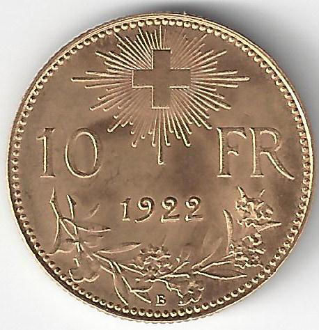 Croix Suisse 10F 1922 en Or