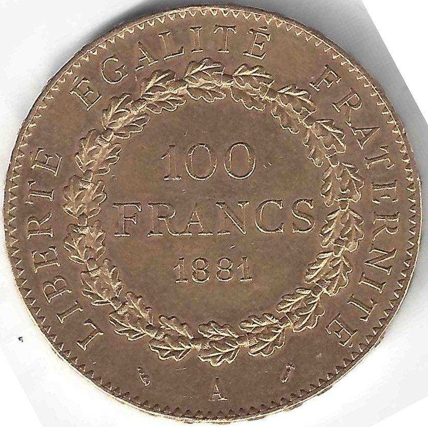 Napoléon 100 Frs Génie en Or