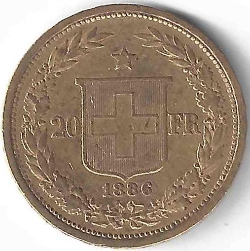 Croix Suisse 20 Frs en Or