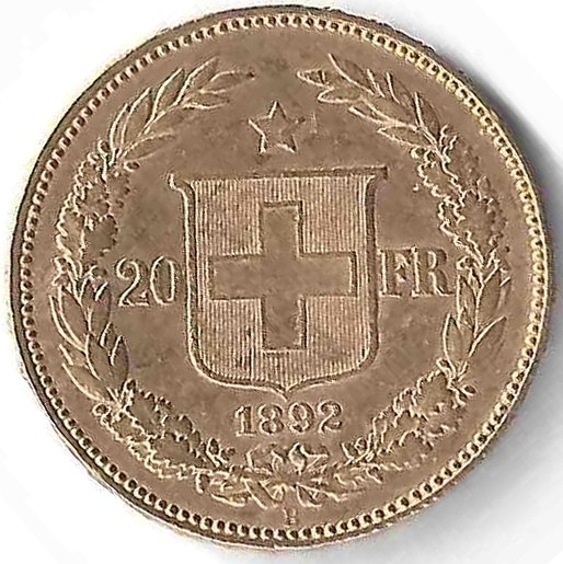 Croix Suisse 20 Francs en Or