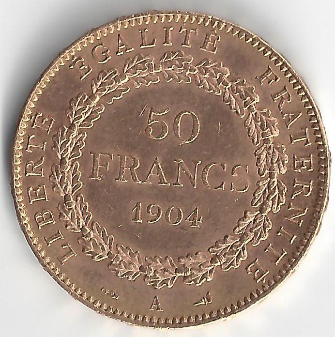 Napoléon 50 Francs Génie en Or