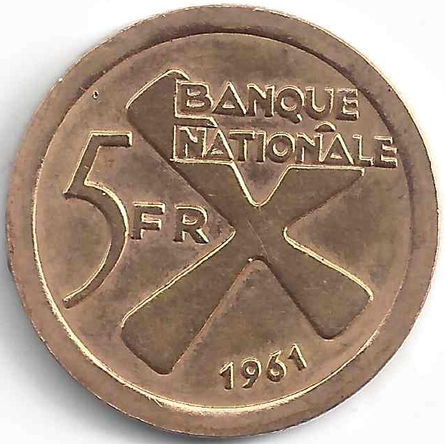 5 Frs Banque Nationale en Or