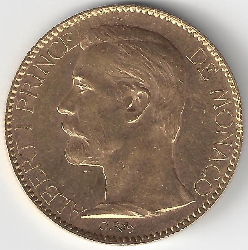 100 Frs Albert 1er de Monaco en Or