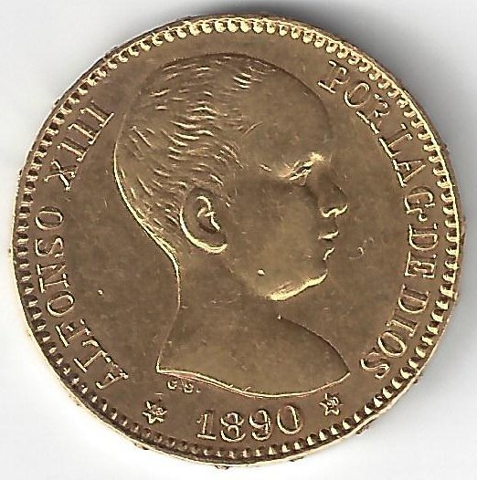 20 Pesetas Alfonso XIII en Or