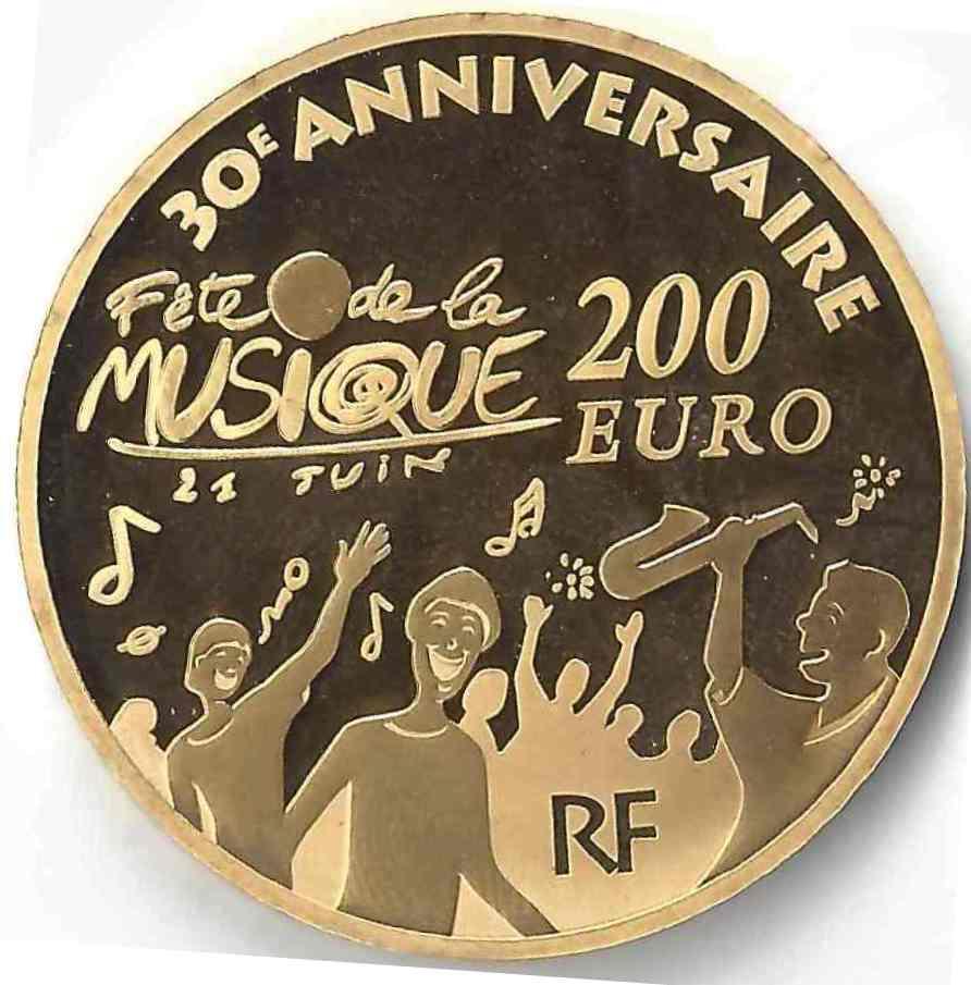 200 Euro Fête de la musique en Or
