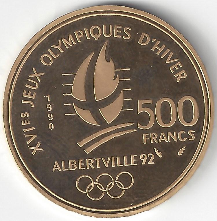 500 Frs JO ALBERTVILLE 92 en Or