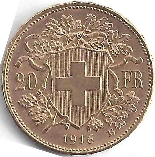 Croix Suisse 20 Francs en Or