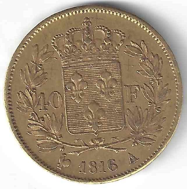 Louis XVIII 40 Francs en Or