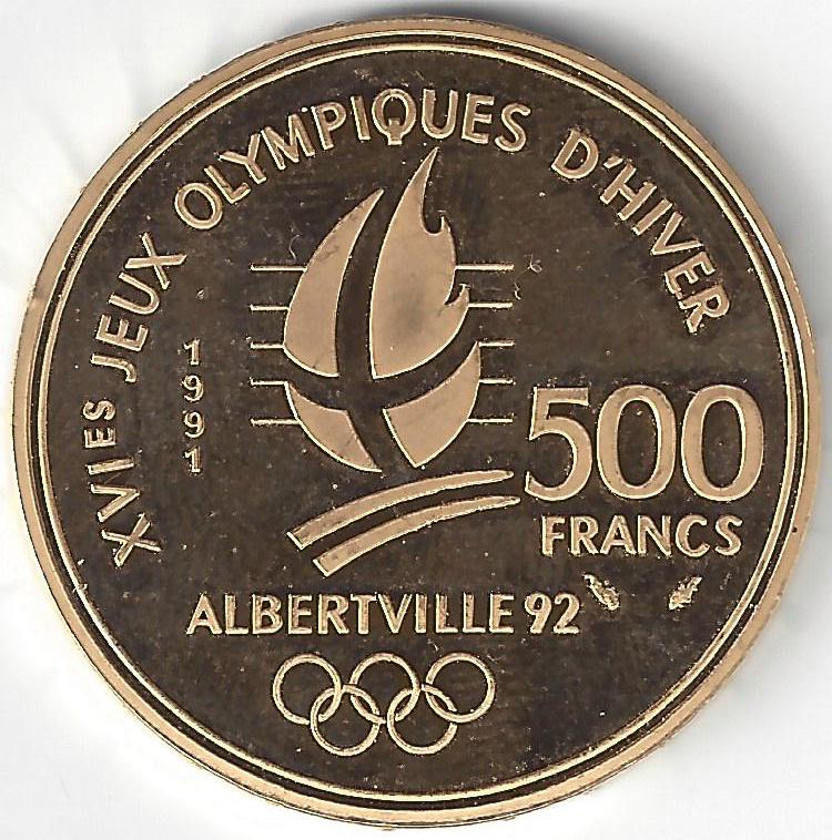 500 Frs JO ALBERTVILLE 92 SKI en Or