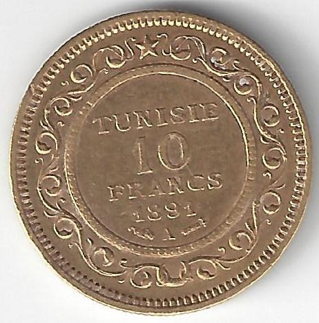 10F Tunisie en Or